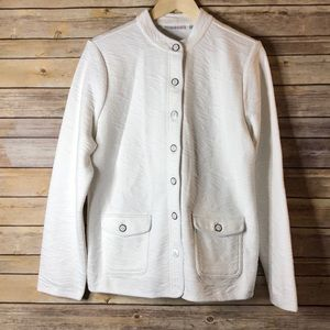 NWOT Isaac Mizrahi White Quilted Coat L